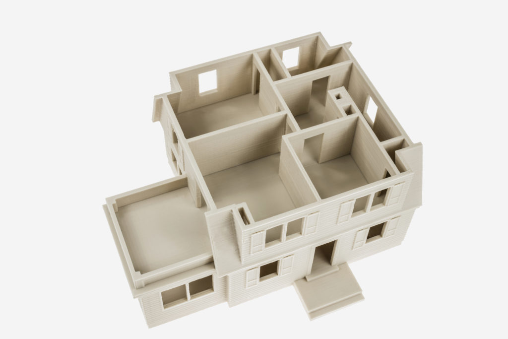 3d printed house mock up with PLA MINERAL filament from Fiberlogy
