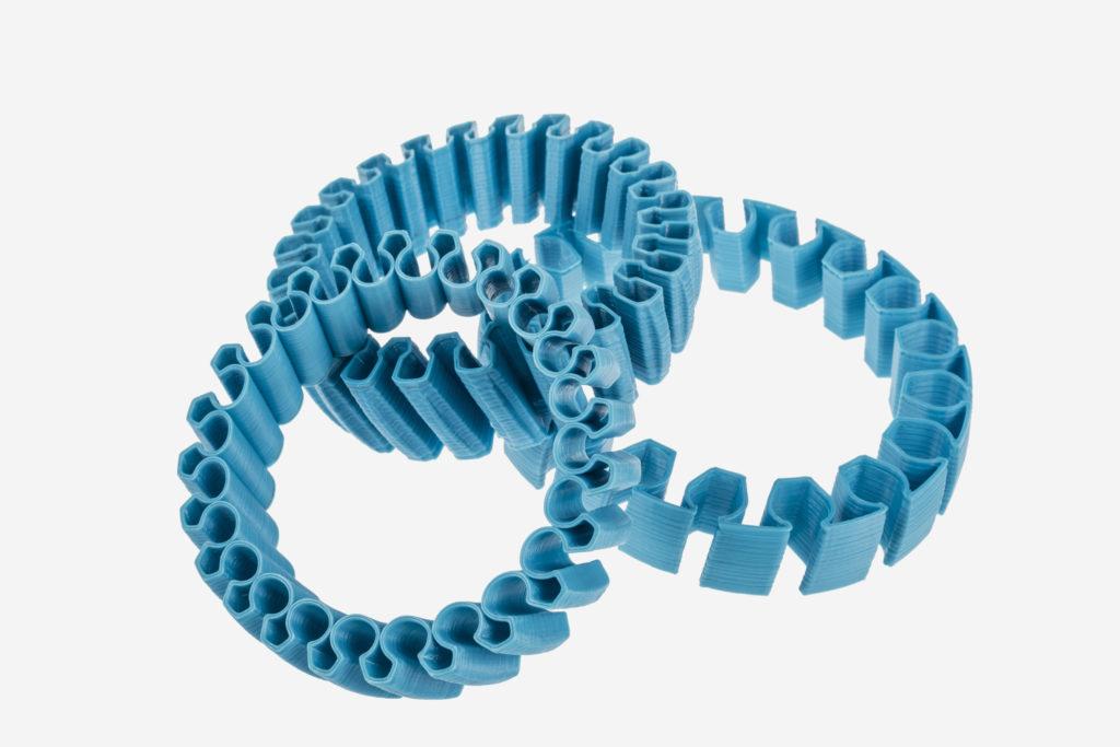 3d printed bracalets of Fiberlogy filament Fiberflex 40D
